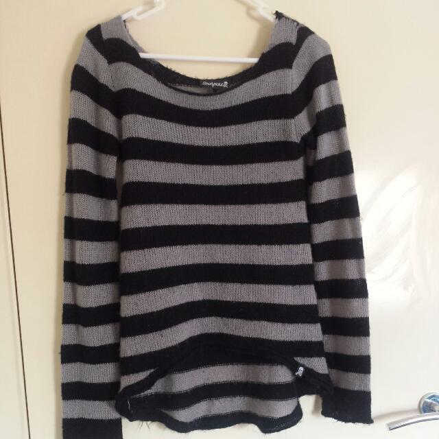 Black And Grey Stripe Sourpuss Jumper