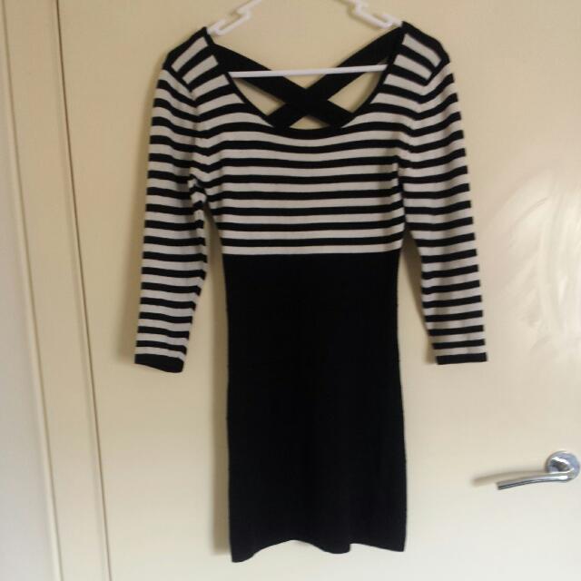 Black And White Stripe Bandage Sweater Dress