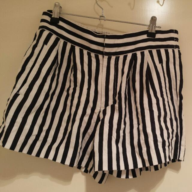 Black And White Striped Country Road Shorts