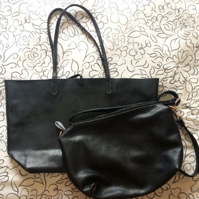 [REPRICE] Black Tote And Sling Bag (2in1)