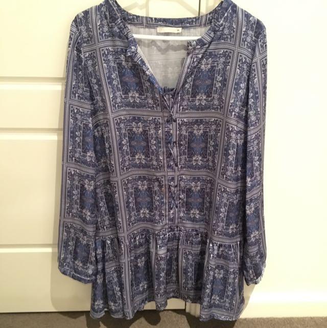 Blue Paisley Tie Up Mini Dress