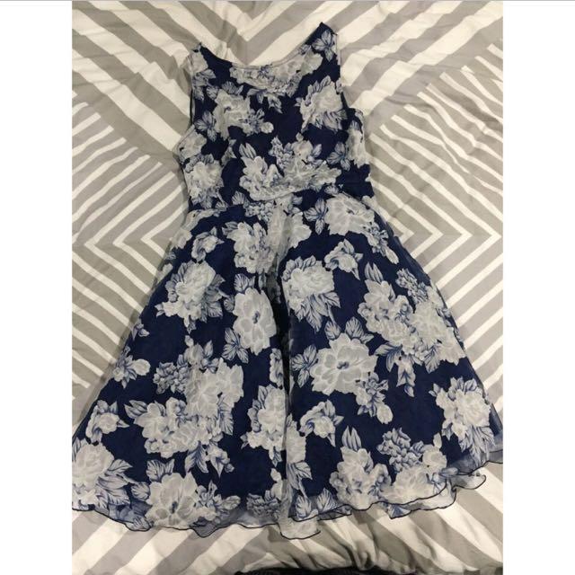 Boohoo.com Navy Blue And White Formal Dress