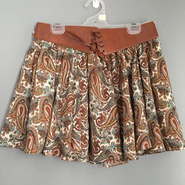 Brown Paisley Skirt With Leather Belt Size 12