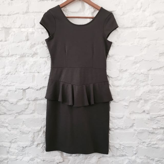 Cotton On Grey Peplum Dress