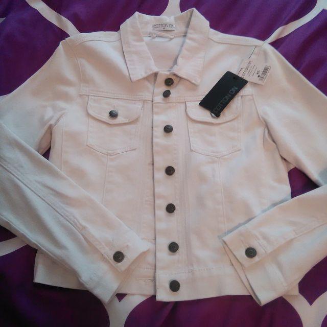 Cotton On white denim jacket