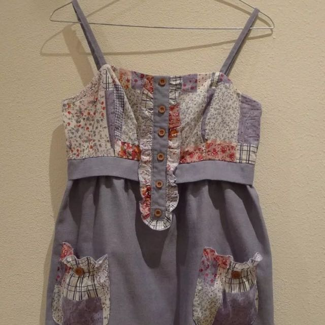 Denim Look Dress With Floral Patchwork Material