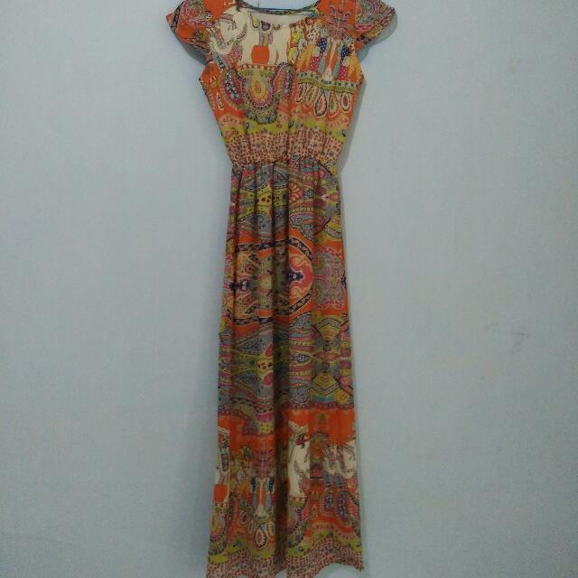 dress ethnic orange