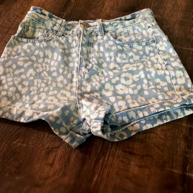 Glassons High Waisted Denim Leopard Print Shorts