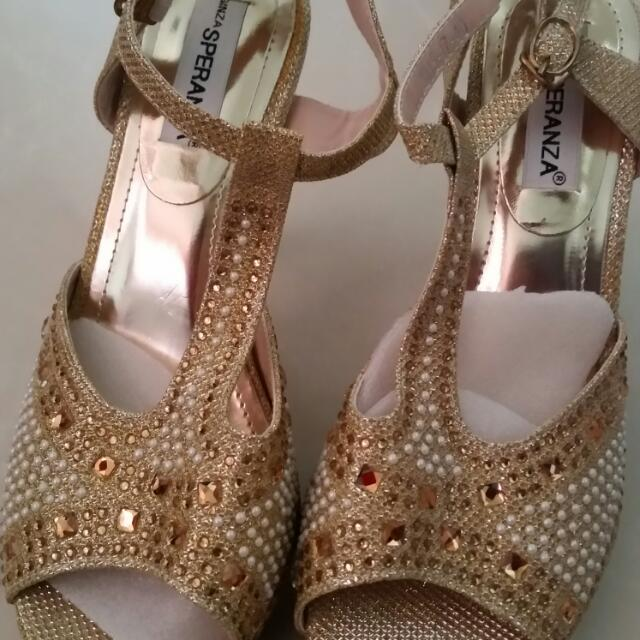Golden Customized Wedding Shoes (Brandnew)