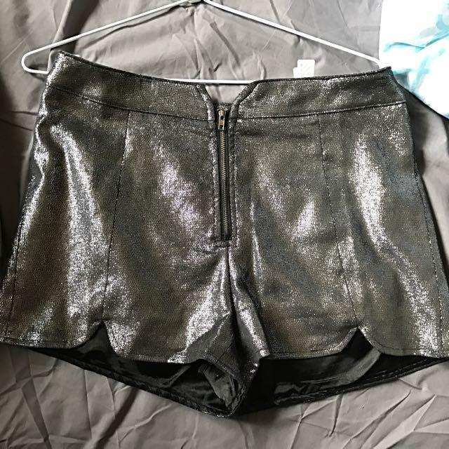 High Waist Metallic Shorts