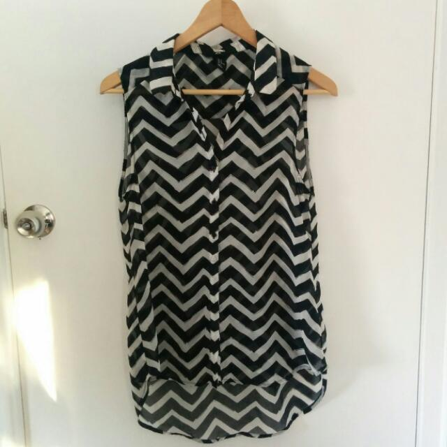 H&M Size S Striped Sleeveless Top