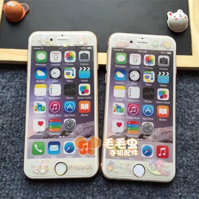 Iphone雙子星卡通鋼化膜