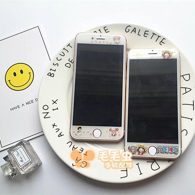 Iphone航海王卡通鋼化膜