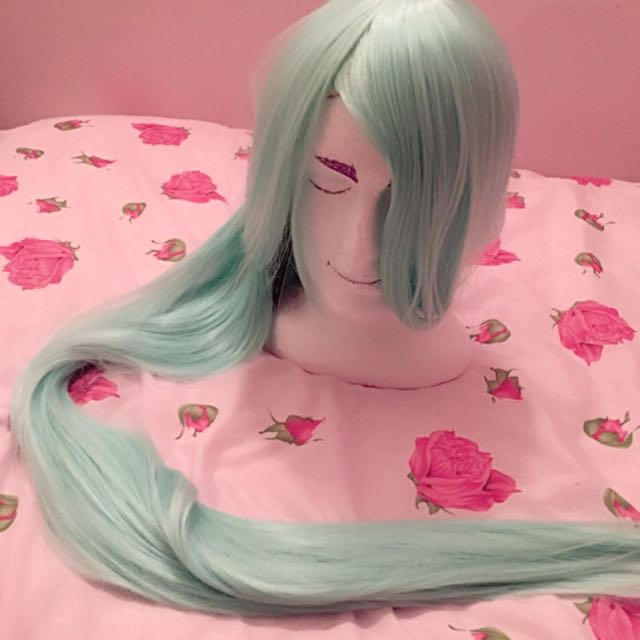Minty blue green pastel 110cm long cosplay wig