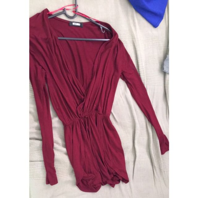 Missguided Burgundy Playsuit