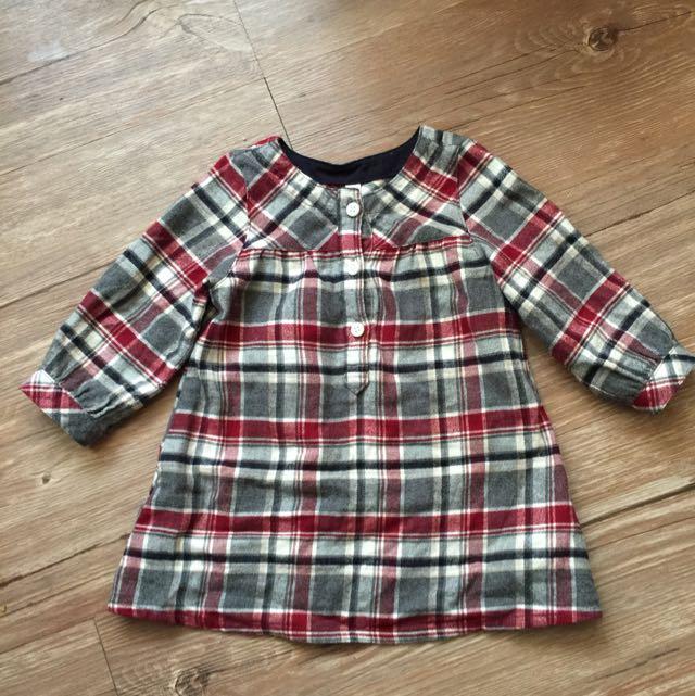 MUJI 寶寶格子上衣