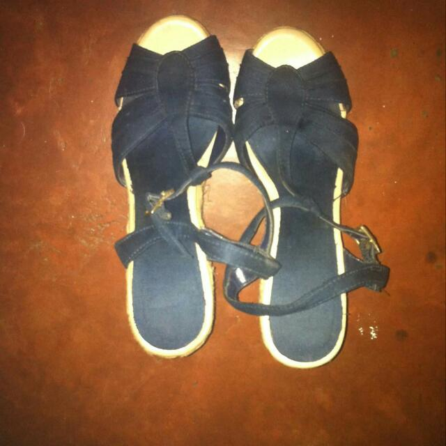 NAME YOUR PRICE Blue Felt Wedged Heels