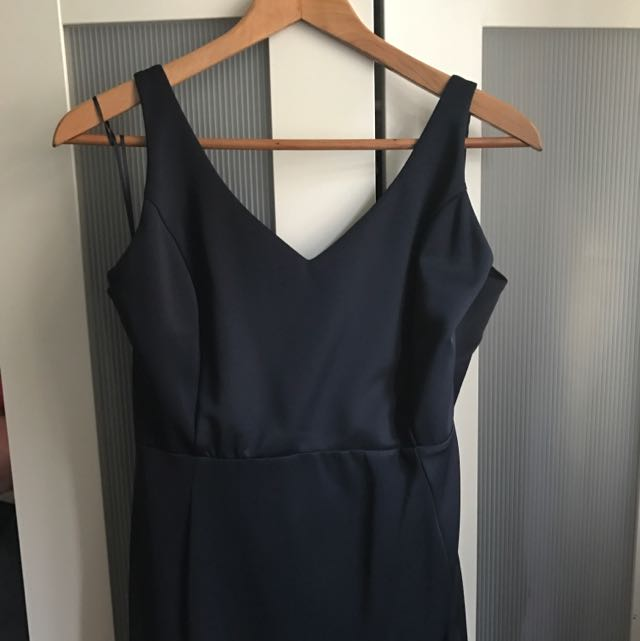 Navy Blue Fresh Soul Midi Dress With Drop Back - Size 14
