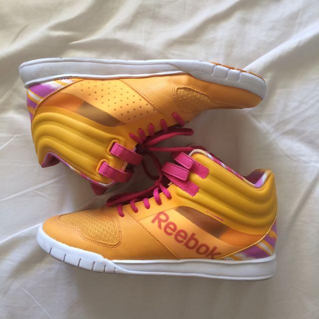 Orange And Pink Reebok Hightop Sneakers