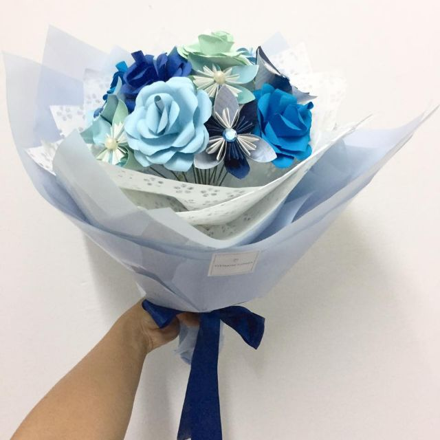Origami Flower Bouquet (Just Blue)
