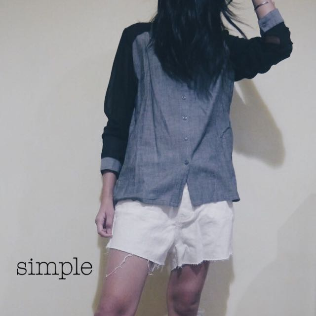 Raglan Button Up + High Waist Cotton On Shorts