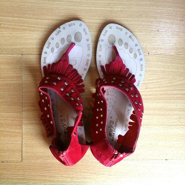 Red Boho Sandals