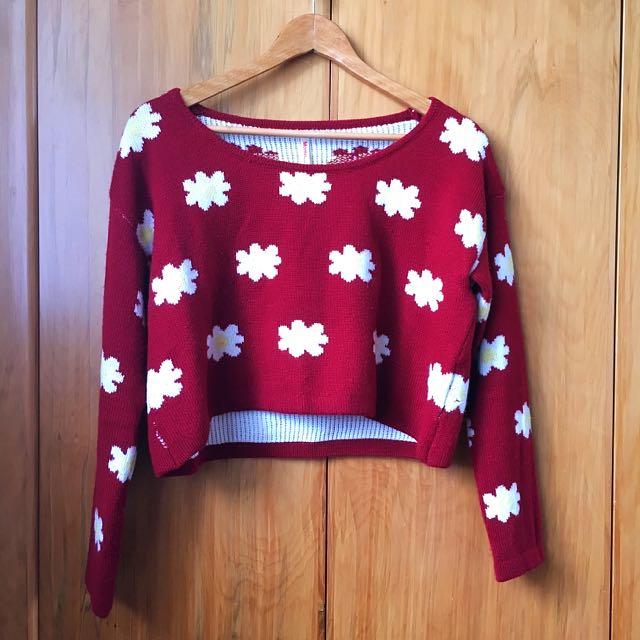 Red Flowery Crop Knit