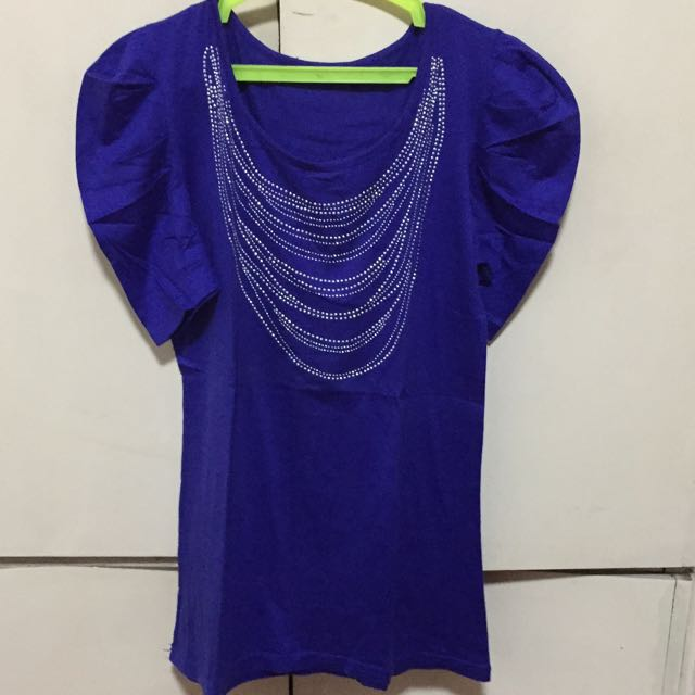 Royal Blue Puff Sleeved Top