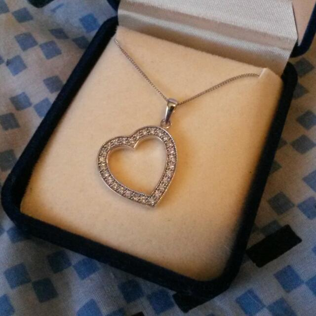 Silver And Cubic Zirconia Heart Necklace