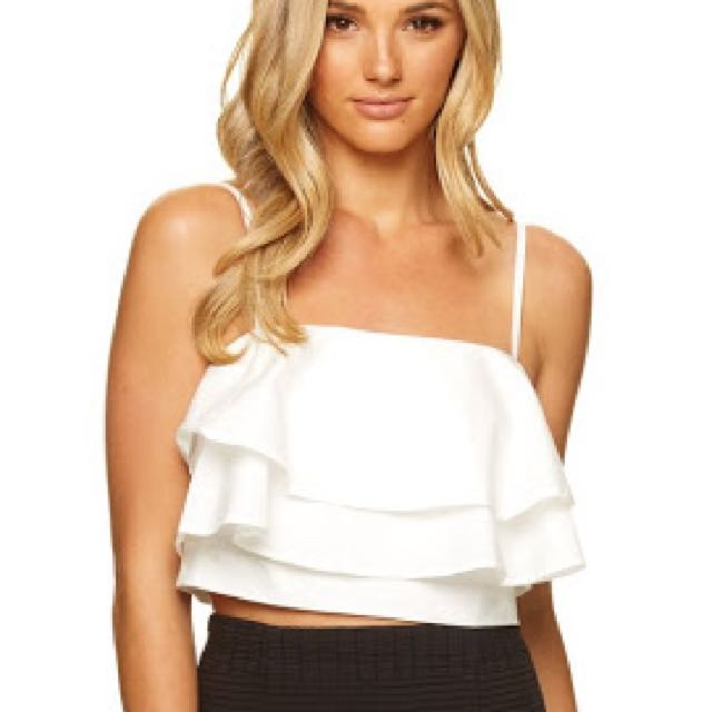 736ed79209531 Size 34 (6) KOOKAI White Liza Layered Ruffle Crop Top Bralette ...