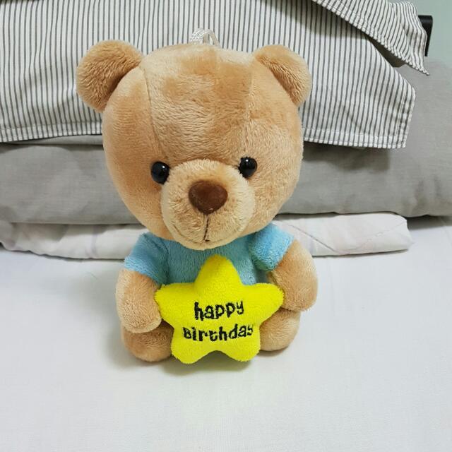 Small happy birthday teddy bear gift.