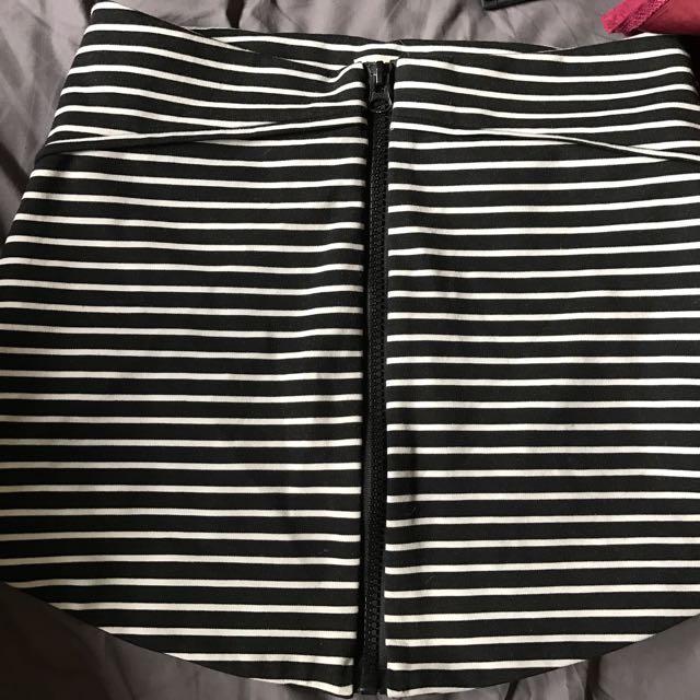 Stripey Zip Front Skirt