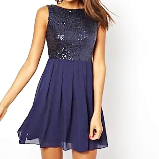 TFNC London navy sequin dress