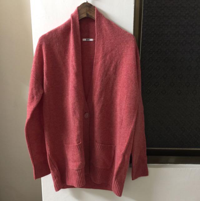全新UNIQLO 珊瑚紅羊毛復古外套