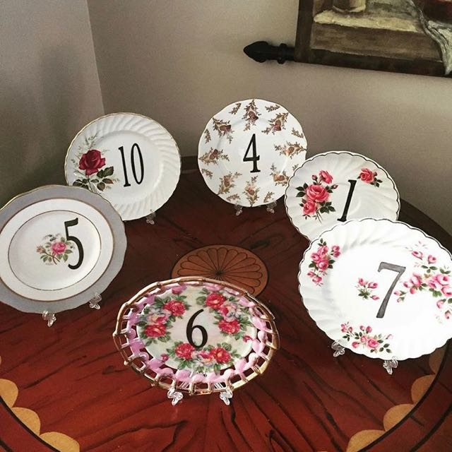 Vintage Floral Cake Plate Table Numbers