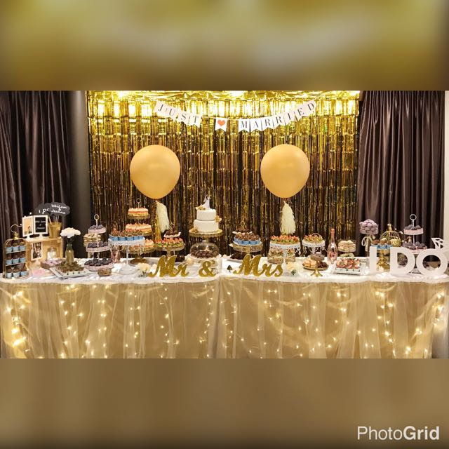 wedding dessert table white gold theme design craft others on carousell. Black Bedroom Furniture Sets. Home Design Ideas