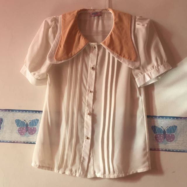 White And Peach Big Collar Shirt