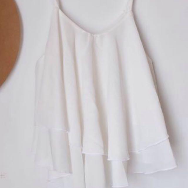 White Flowy Top / summer Top