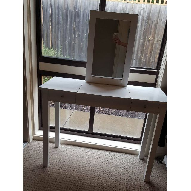 White Vanity Table with Drawers & Mirror Storage