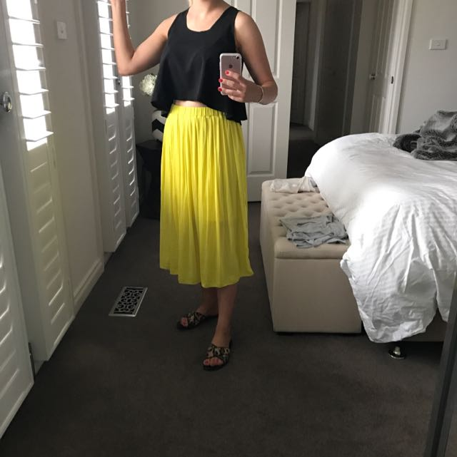 Witchery Yellow Midi Skirt 4