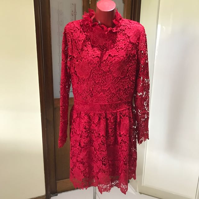XL Mirabelle Red Lace Dress