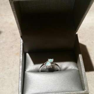 Opal And Diamond Accent Ring In Sterling Silver