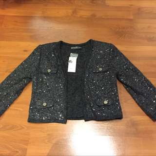 Shiny Black Cardigan From Honey Boutique Store Sz Small