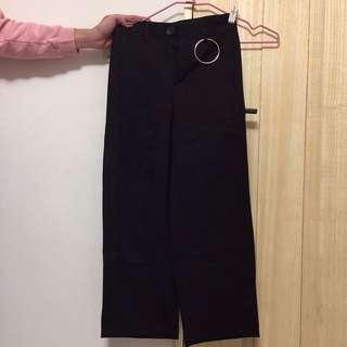 韓國復古單環黑色修身西裝褲(全新)