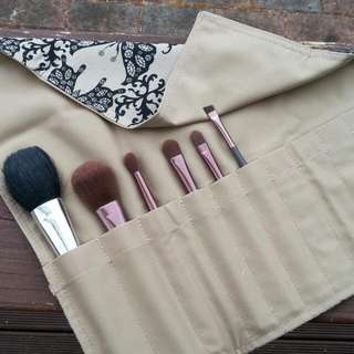 Brown Butterfly Design - Makeup brush roll
