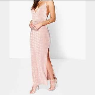Lacy Strappy Drape Front Thigh Maxi Dress