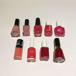 Nail Polish Pink Red Coral Fuchsia Revlon Max Factor OPI Essie Maybelline Elianto