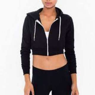 American Apparel black cropped hoodie