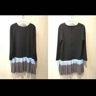 韓加絨質感百褶洋裝
