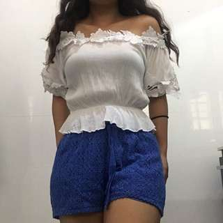 Blue Lace Mid Waist Shorts
